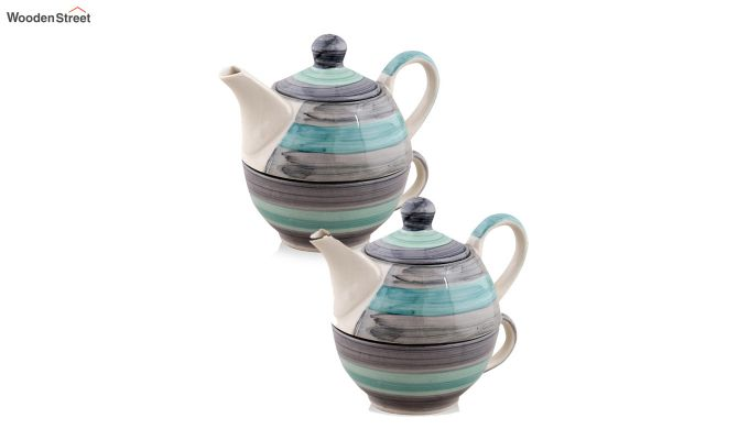 Twirling Green Hand Made Ceramic Cup with Kettle Set- Set of 2-2