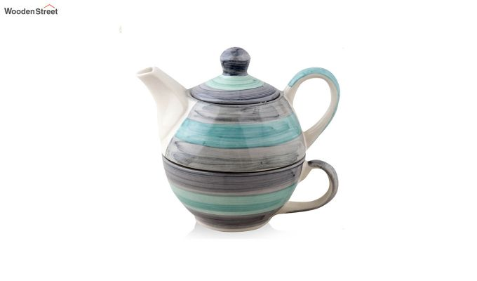 Twirling Green Hand Made Ceramic Cup with Kettle Set- Set of 2-3