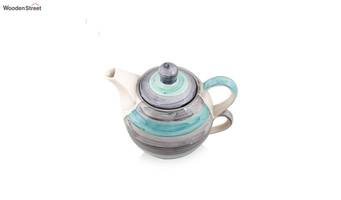 Twirling Green Hand Made Ceramic Cup with Kettle Set- Set of 2-4
