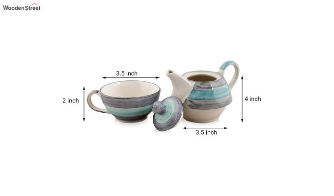 Twirling Green Hand Made Ceramic Cup with Kettle Set- Set of 2-5