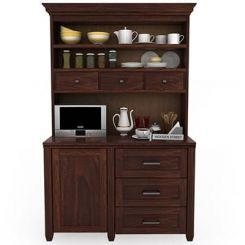 Clayton Kitchen Cabinet (Walnut Finish)