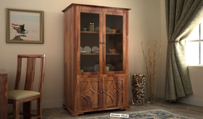 Martin Double Door Crockery Unit (Teak Finish)-1