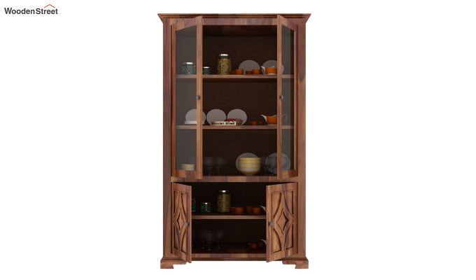 Martin Double Door Crockery Unit (Teak Finish)-4