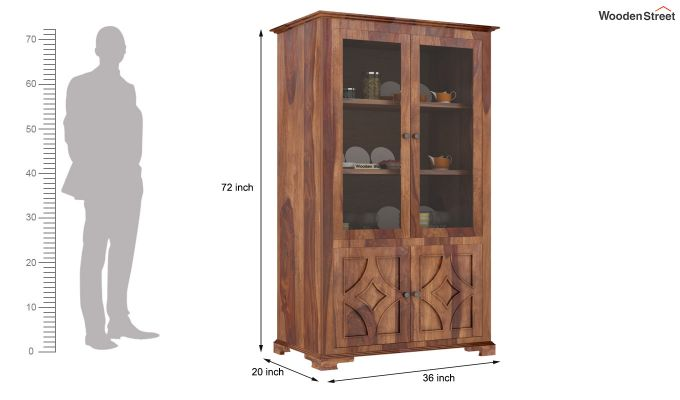 Martin Double Door Crockery Unit (Teak Finish)-6