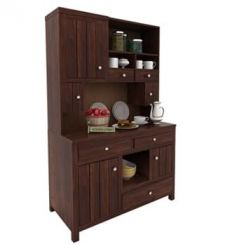 Crestor Kitchen Cabinet (Walnut Finish)