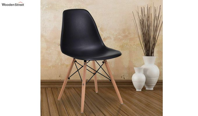 ABS Plastic with Wood Molded Modern Iconic Chair (Black)-1