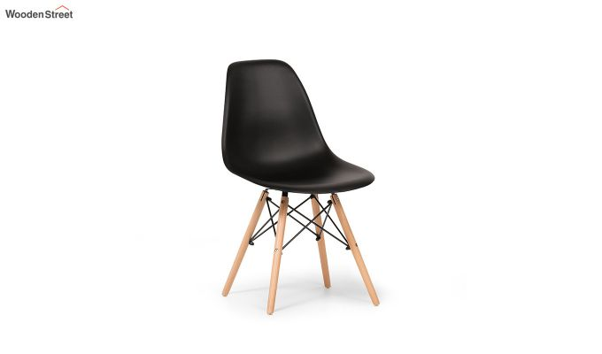 ABS Plastic with Wood Molded Modern Iconic Chair (Black)-2