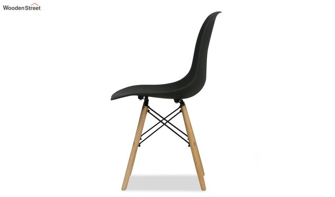 ABS Plastic with Wood Molded Modern Iconic Chair (Black)-4