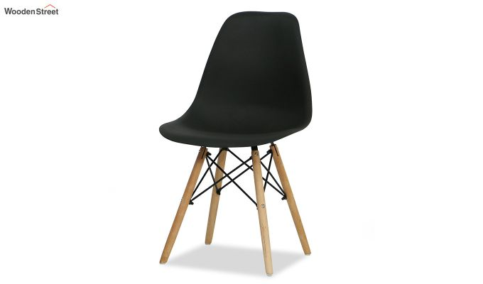 ABS Plastic with Wood Molded Modern Iconic Chair (Black)-5