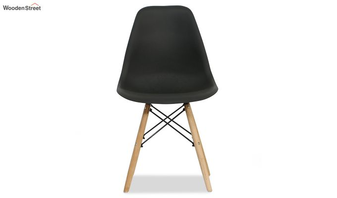ABS Plastic with Wood Molded Modern Iconic Chair (Black)-6
