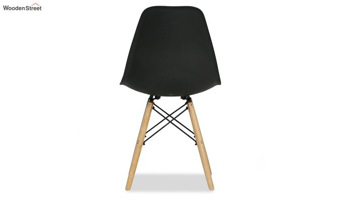 ABS Plastic with Wood Molded Modern Iconic Chair (Black)-7