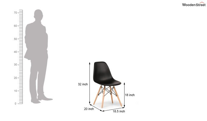 ABS Plastic with Wood Molded Modern Iconic Chair (Black)-8
