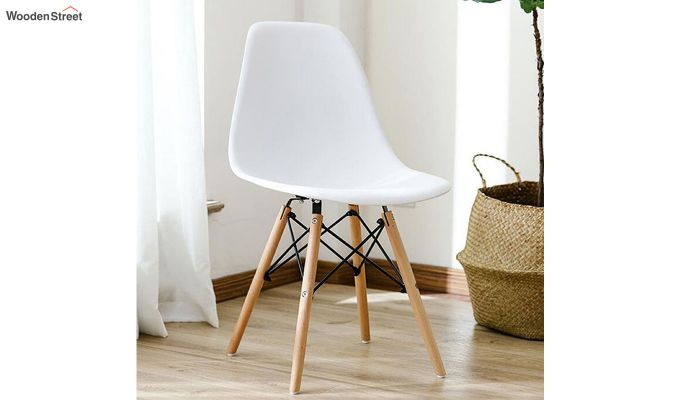 ABS Plastic with Wood Molded Modern Iconic Chair (White)-1