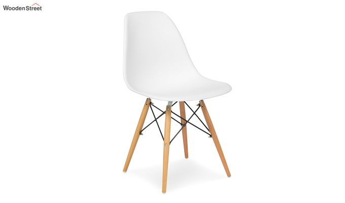 ABS Plastic with Wood Molded Modern Iconic Chair (White)-2