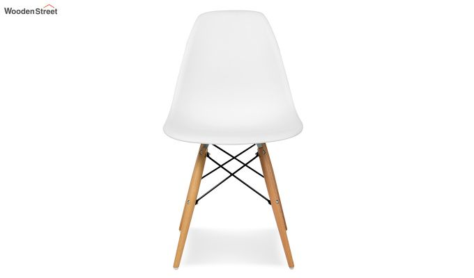 ABS Plastic with Wood Molded Modern Iconic Chair (White)-3