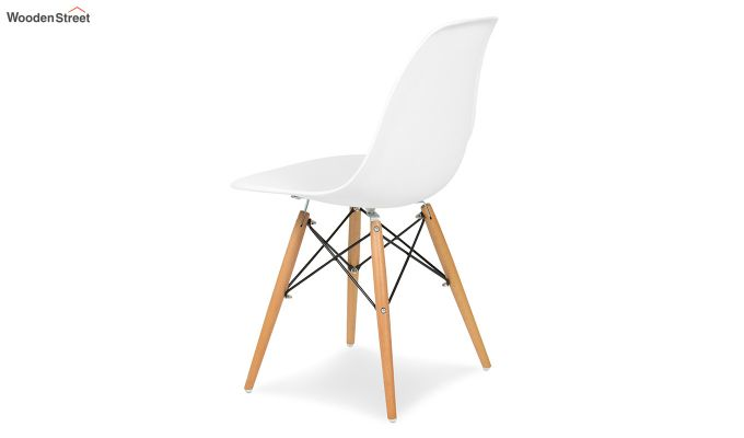 ABS Plastic with Wood Molded Modern Iconic Chair (White)-4