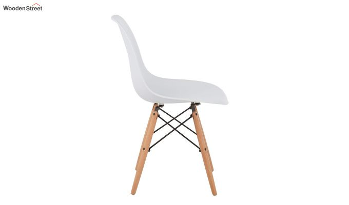 ABS Plastic with Wood Molded Modern Iconic Chair (White)-5