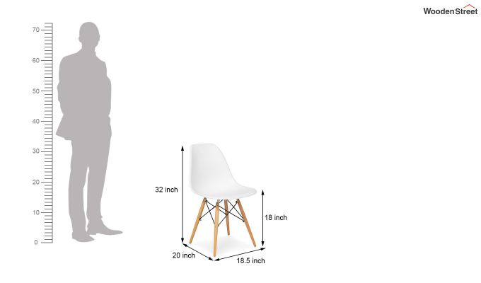 ABS Plastic with Wood Molded Modern Iconic Chair (White)-6