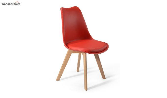 Eames Replica Solid Wood Legs Iconic Chair (Red)-3