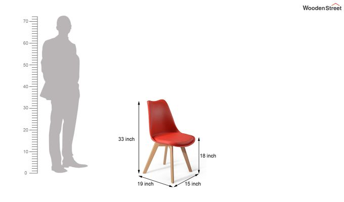 Eames Replica Solid Wood Legs Iconic Chair (Red)-5