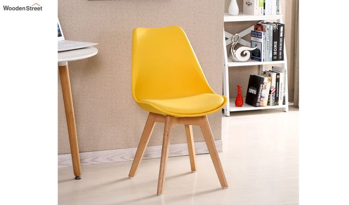 Eames Replica Solid Wood Legs Iconic Chair (Yellow)-1