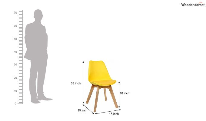 Eames Replica Solid Wood Legs Iconic Chair (Yellow)-6
