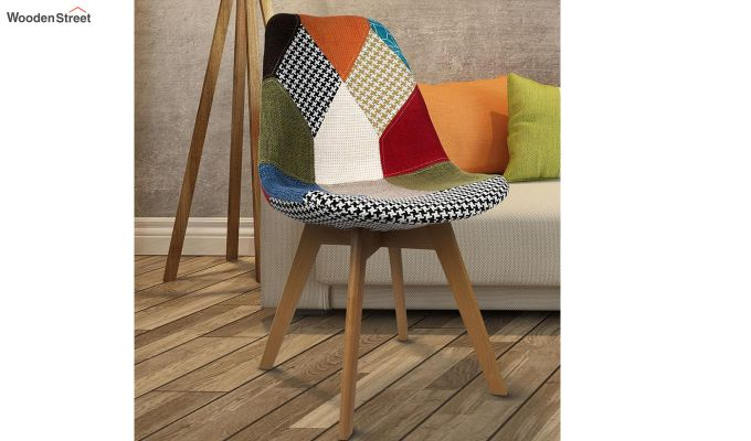 Scandinavian Patchwork Iconic Chair With Soft Padded Seat (Multicolour)-1