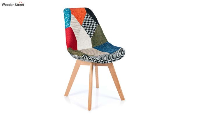 Scandinavian Patchwork Iconic Chair With Soft Padded Seat (Multicolour)-2