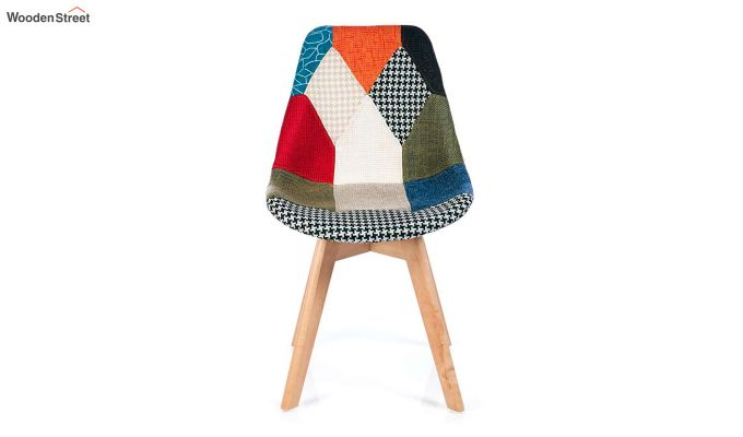 Scandinavian Patchwork Iconic Chair With Soft Padded Seat (Multicolour)-3