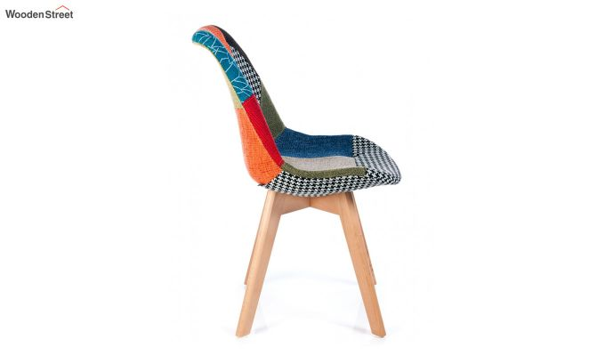 Scandinavian Patchwork Iconic Chair With Soft Padded Seat (Multicolour)-4