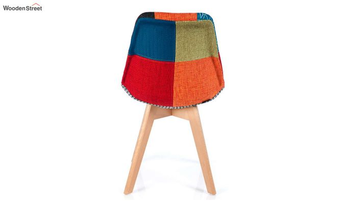 Scandinavian Patchwork Iconic Chair With Soft Padded Seat (Multicolour)-5