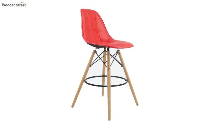 Scandinavian Style Eames DSW Natural Wood Bar Stool (Red)-2
