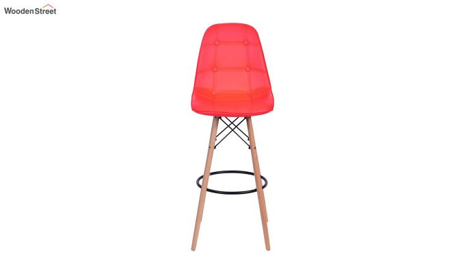 Scandinavian Style Eames DSW Natural Wood Bar Stool (Red)-1