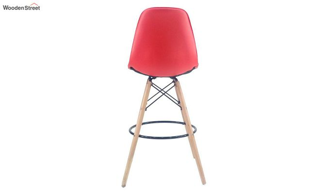 Scandinavian Style Eames DSW Natural Wood Bar Stool (Red)-3