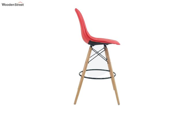 Scandinavian Style Eames DSW Natural Wood Bar Stool (Red)-4