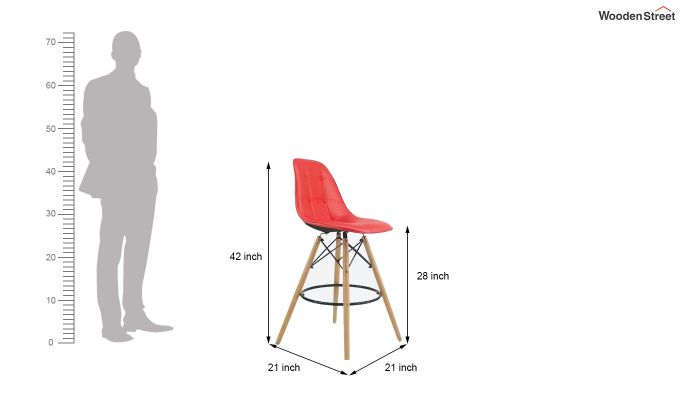 Scandinavian Style Eames DSW Natural Wood Bar Stool (Red)-5