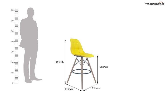 Scandinavian Style Eames DSW Natural Wood Iconic Chair (Yellow)-5