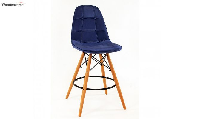 Scandinavian Style Eames DSW Natural Wood Velvet Iconic Chair (Blue)-1