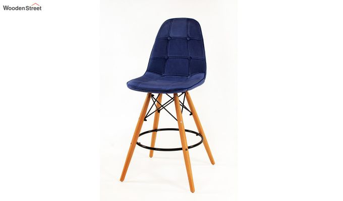 Scandinavian Style Eames DSW Natural Wood Velvet Iconic Chair (Blue)-2