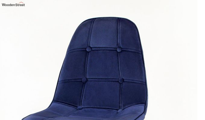 Scandinavian Style Eames DSW Natural Wood Velvet Iconic Chair (Blue)-3