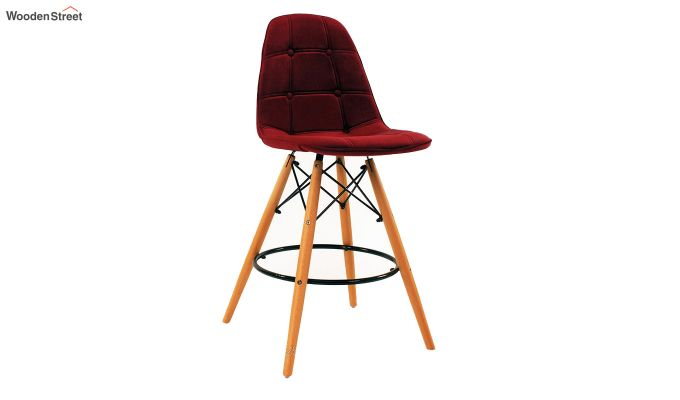 Scandinavian Style Eames DSW Natural Wood Velvet Iconic Chair (Red)-1