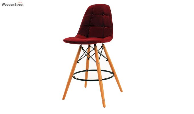 Scandinavian Style Eames DSW Natural Wood Velvet Iconic Chair (Red)-2