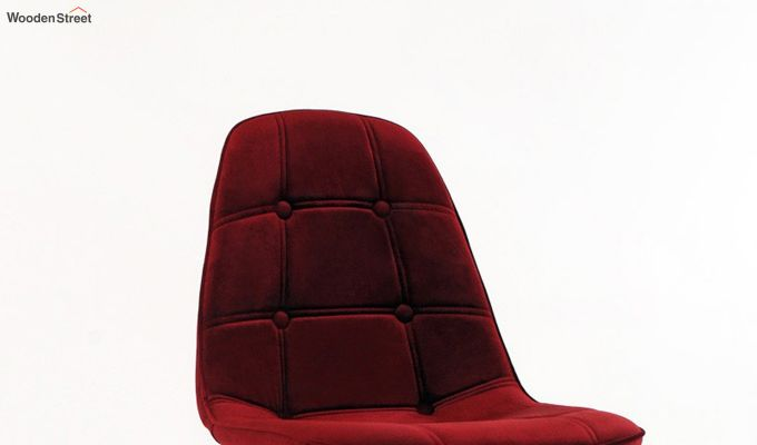 Scandinavian Style Eames DSW Natural Wood Velvet Iconic Chair (Red)-3