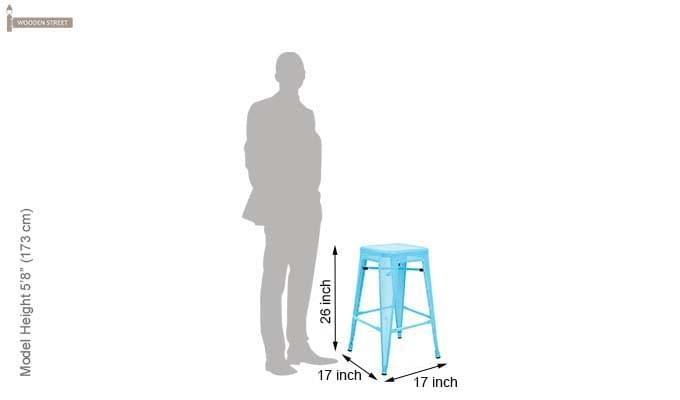 Alba Iron Stool (Sky Blue)-4