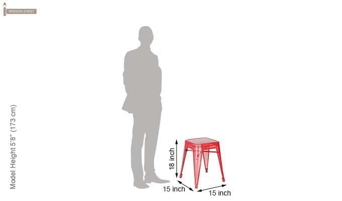 Ursula Iron Stool (Red)-4