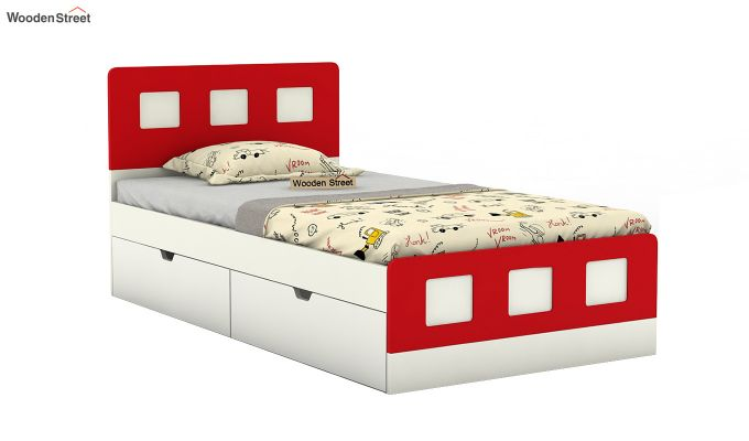 Blueberry Kids Bed With Storage (Cardinal Red)-2