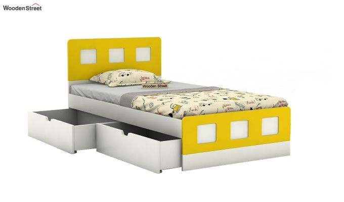 Blueberry Kids Bed With Storage (Marigold Yellow)-4