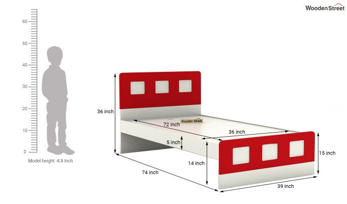 Blueberry Kids Bed Without Storage (Cardinal Red)-6