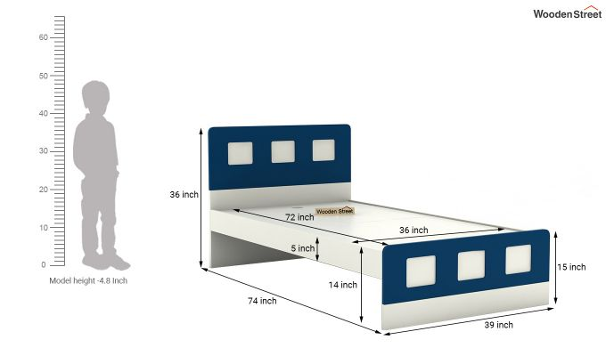 Blueberry Kids Bed Without Storage (Electric Blue)-6
