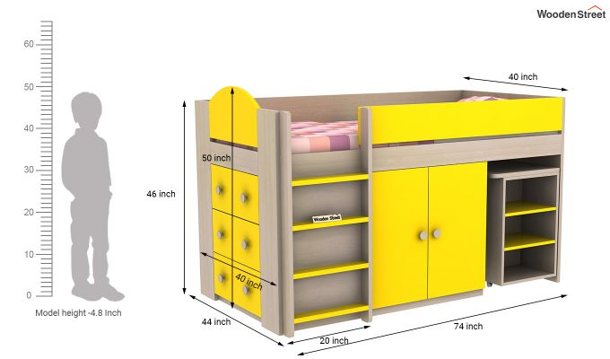 Crissa Bunk Bed (Marigold Yellow)-11